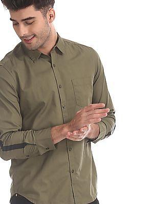 Flying Machine Green Spread Collar Cotton Shirt