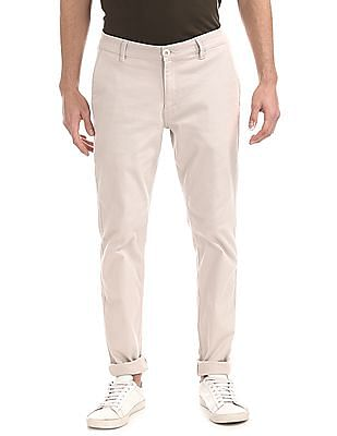 Ruggers Grey Modern Slim Fit Solid Trousers