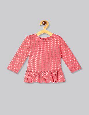 GAP Pink Baby Print Peplum Top