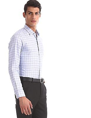 Arrow Blue Check Giza Cotton Shirt