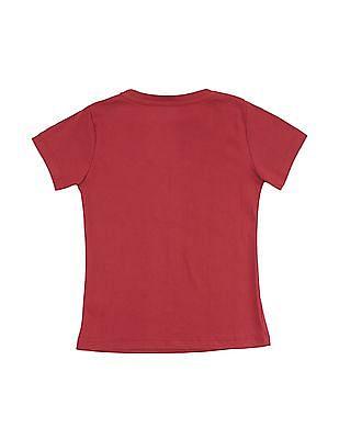 Cherokee Girls Printed Front Round Neck T-Shirt