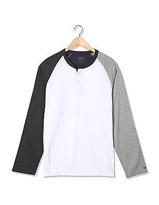 Arrow Sports Regular Fit Colour Blocked Henley Shirt