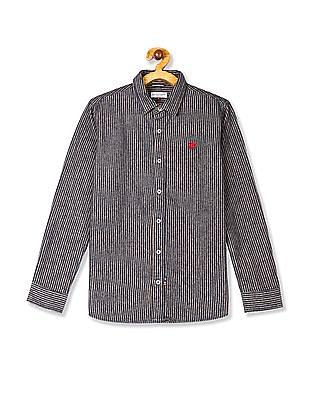U.S. Polo Assn. Kids Beige And Navy Boys Striped Cotton Shirt