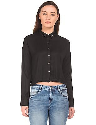 Flying Machine Women Raw Hem Boxy Shirt