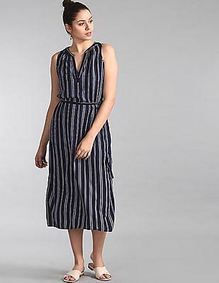 GAP Blue Sleeveless Zen Striped Maxi Dress