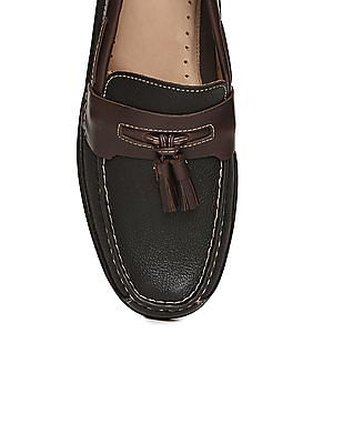 Johnston & Murphy Contrast Trim Leather Loafers