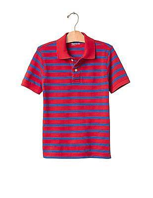 GAP Boys Red Stripe Pique Polo