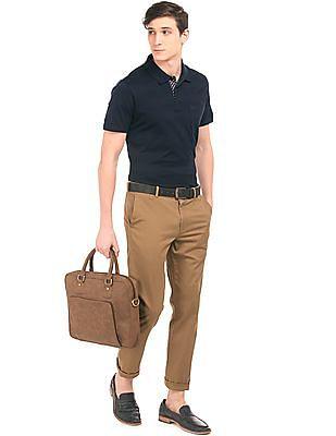 Arrow Patterned Knit Polo Shirt