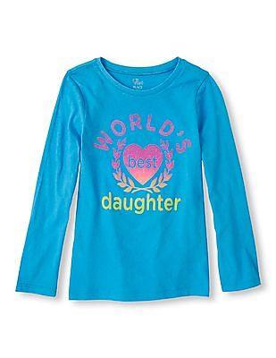 The Children's Place Girls Long Sleeve Glitter Print T-Shirt