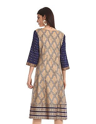 Anahi Grey Embroidered Yoke Flared Kurta