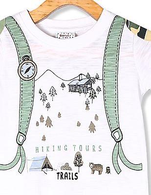 Donuts White Boys Printed Slub Cotton T-Shirt