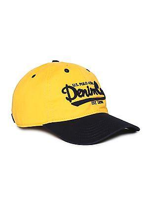 U.S. Polo Assn. Yellow And Navy Colour Block Cotton Cap