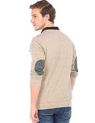 Newport Contrast Elbow Patch Heathered Sweatshirt