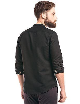 True Blue Slim Fit Cotton Linen Shirt