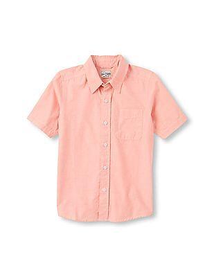 The Children's Place Boys Short Sleeve Cotton Poplin Button-Down Shirt