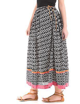 Bronz Ikat Print Maxi Skirt