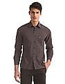 Arrow Sports Navy And Burgundy Mitered Cuff Check Shirt
