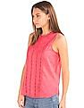 GAP Women Pink Crochet Pintuck Tank