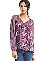 GAP Women Red Split Neck Print Blouse
