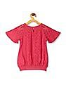 Cherokee Pink Girls Raglan Sleeve Lace Top