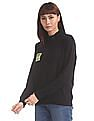 Flying Machine Women Black High Neck Solid Sweatshirt
