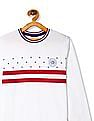 U.S. Polo Assn. Kids White Boys Printed Front Tipped T-Shirt