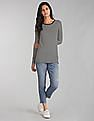 GAP Women Black Long Sleeve Stripe Tunic Tee