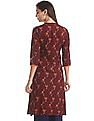 Karigari Red Mandarin Neck Printed Panel Kurta