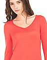 Arrow Woman Solid V-Neck Sweater
