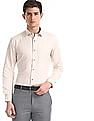 Arrow Newyork Beige Slim Fit Heathered Shirt