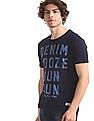 Flying Machine Blue Printed Slub Cotton T-Shirt