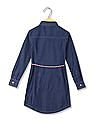 U.S. Polo Assn. Kids Girls Tie Waist Shirt Dress