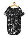 Flying Machine Women Round Neck Printed Balloon Top