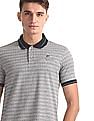 Ruggers Grey Knit Pattern Tipped Polo Shirt