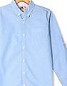 FM Boys Blue Boys Button Down Collar Solid Shirt