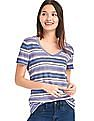 GAP Women Blue Linen V-Neck Slim Tee