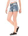 Aeropostale Distressed High Waisted Denim Shorts