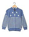 U.S. Polo Assn. Kids Boys Zip Up Patterned Knit Sweater